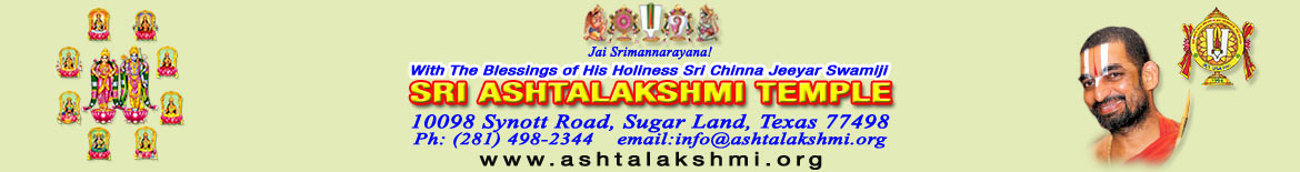 SRI ASHTALAKSHMI TEMPLE - JET USA - Houston Chapter